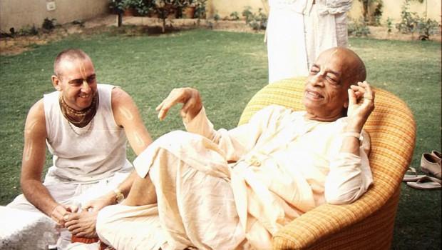 Srila Prabhupada in his garden