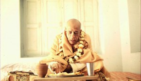 Srila Prabhupada honoring prasadam