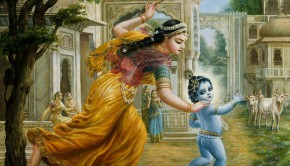Mother Yasoda Chases Baby Krishna with a stick in her hand -- damodara