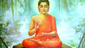 buddha meditating in the forrest