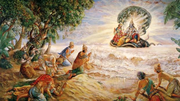 The Demigods on the shore of the Milk Ocean Pray to Lord Visnu