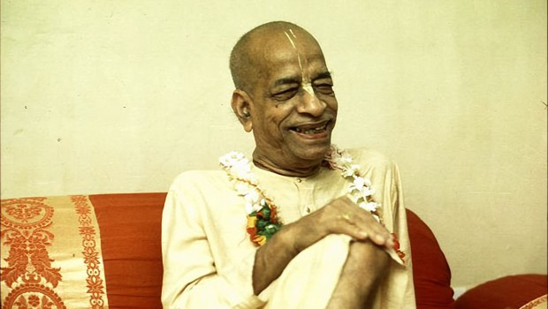 Srila Prabhupada in his room smiling
