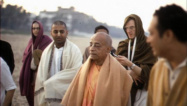 Srila Prabhupada on Morning Walk with disciples