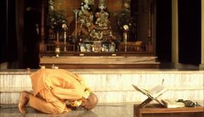 Srila Prabhupada offers obeisances to Radha Krishna Deities