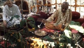 Srila Prabhupada pours ghee into sacrificial fire yajna