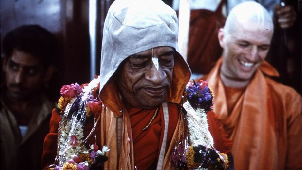 Srila Prabhupada with Madhudvisa Swami smiling in the background