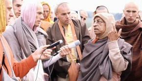 Srila Prabhupada on a morning walk with disciples in Germany