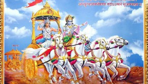 Krishna and Arjuna on Chariot on Battlefield of Kuruksettra