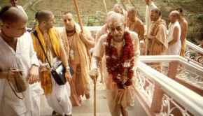 Srila Prabhupada Walking up the Steps at Mayapur