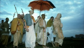 Srila Prabhupada Walking with Disciples at Sunrise