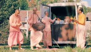 French ISKCON Sankirtan Devotees having Kirtan at the back of their Sankirtan Van