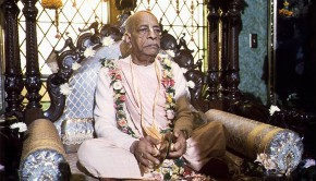 Srila Prabhupada Playing Kartals on Vyassasana at New Vrindavan-2
