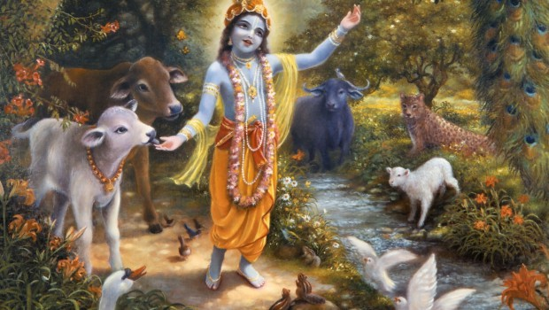 Krishna with the animals of Vrindavan on the bank of the Yamuna River