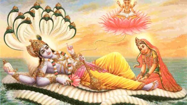 Lord Visnu Lying on Sesa-Naga with Lakshmi and Lord Brahma on Lotus Flower