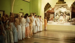 Srila Prabhupada and Devotees at Deity Greeting in unrenovated temple