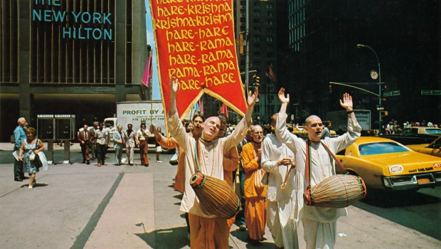 Hare Krishna Devotees Chant outside the New York Hilton 1974