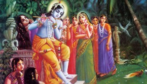 Krishna Plays on His Flute in the Forrest of Vrindavan and the Gopis are Attracted