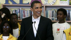 Barack Obama Visits New Orleans Charter School