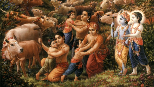 Krishna and Balaram observe the Cowherd Men overly attached to their children