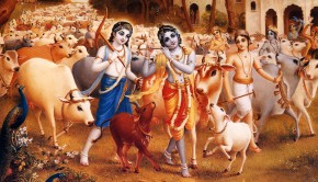 Krishna and Balaram with their cows and cowherd boyfriends in Vrindava