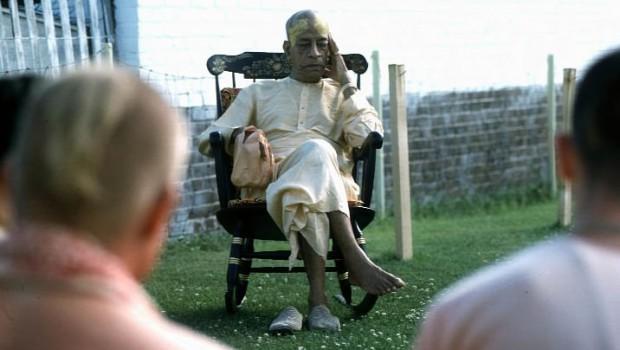 Prabhupada Sitting Outside