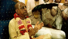 Srila Prabhupada Clapping on Vyassasana with devotees fighting for the peacock fan