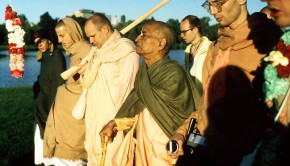 Srila Prabhupada and disciples on morning walk