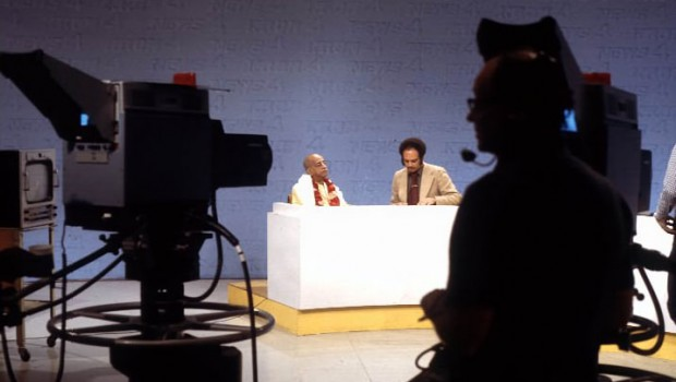 Srila Prabhupada being interviewed on Television News Program