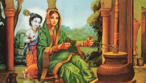 Krishna as Damodar with His Mother Yasoda Churning Butter