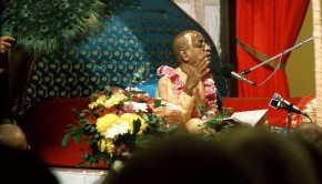 Srila Prabhupada Giving Class and being fanned with peacock fan