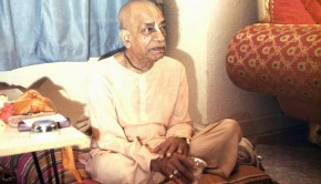 Srila Prabhupada drinking water out of a silver cup