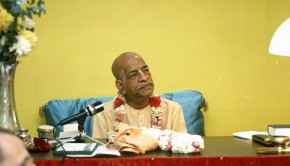 Srila Prabhupada at his desk
