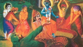 Krishna appeared on the scene and touched the serpant with his lotus foot