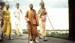 Srila Prabhupada on Morning Walk with Disciples by Lake