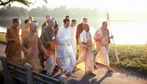 Srila Prabhupada on Morning Walk with Devotees By Lake