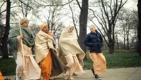 The Living Guru Srila Prabhupada on a Morning Walk