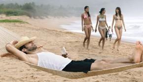 Bikini girls on a beach in Goa, India