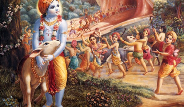 Krishna watching His friends being swallowed by the Aghasura demon