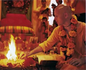 Fire ceremony sanctifies initiation of new devotees. Essentially unchanged for thousands of years, the Vedic rite shows the authenticity of ISKCON's life-style.