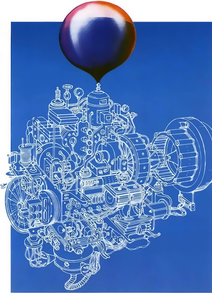 Origins Blueprint of Complex Machine Blowing Up Balloon