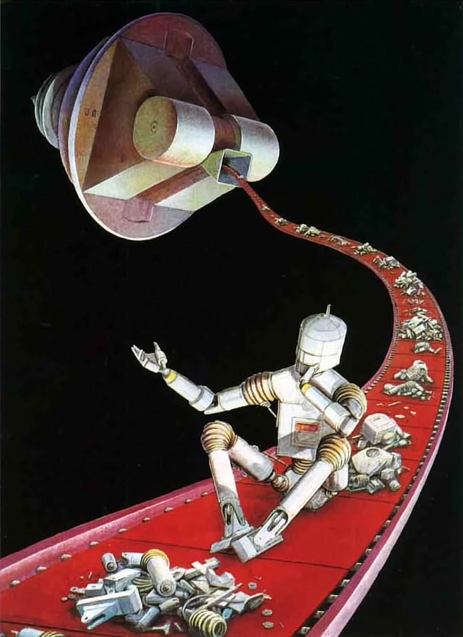 Origins Robot on Conveyor Belt Going into Space Junk recycling machine