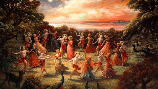 Krishna and Gopis Dance In Rasa Lila