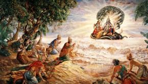 Demigods on the shore of the milk ocean pray to Lord Visnu